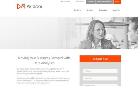 Screenshot of Landing Page vertafore.com - Vertafore - Moving Your Business Forward with Data Analytics Webinar - captured Aug. 20, 2016