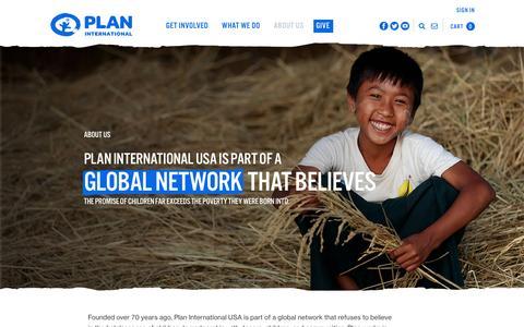 Screenshot of About Page planusa.org - Plan International USA   About Us - captured Jan. 15, 2016