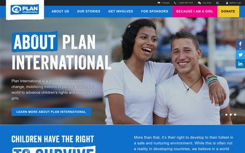 Screenshot of Home Page plancanada.ca - International Development Agency, Children's Charity Organization - Plan International Canada - captured July 19, 2018