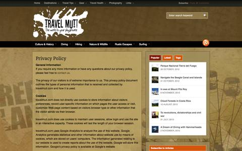 Screenshot of Privacy Page travelmuti.com - Privacy Policy | Travel Muti - captured Oct. 7, 2014