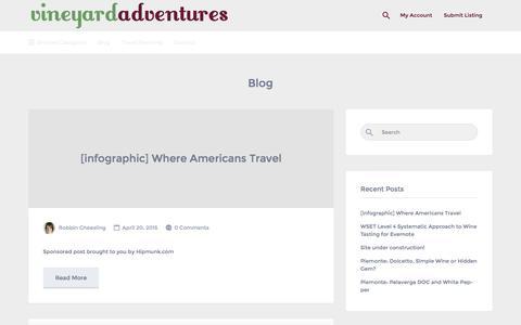 Screenshot of Blog vineyardadventures.com - Blog   Vineyard Adventures - captured Jan. 11, 2016