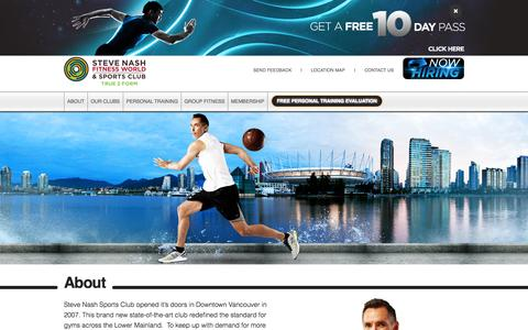 Screenshot of About Page snclubs.com - About :: Steve Nash Fitness World and Sports Clubs - captured Sept. 19, 2014