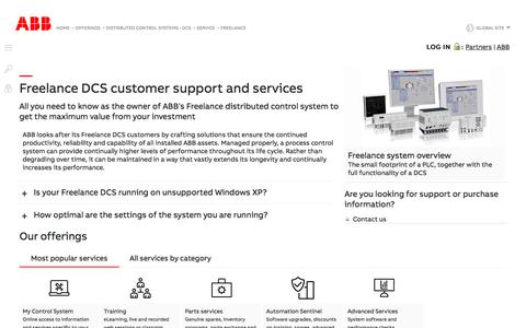 Screenshot of Support Page abb.com - Customer support and services for ABB Freelance distributed control system - Services for ABB distributed control systems (DCS) - captured Nov. 9, 2019