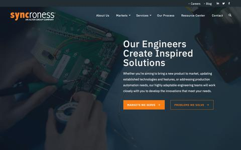 Screenshot of Home Page syncroness.com - Syncroness | Engineering Consulting Firm | Denver, CO - captured June 20, 2019