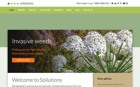 Screenshot of Home Page soilutions.co.uk - Soilutions – Specialists in the remediation of contaminated soils and groundwaters - captured May 21, 2018