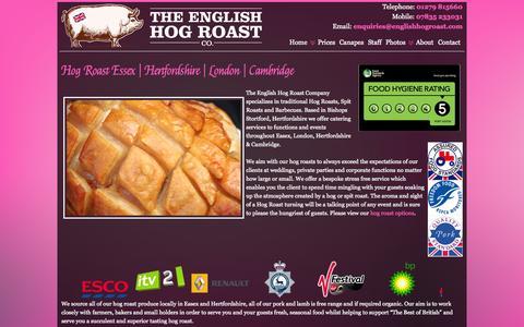 Screenshot of Home Page theenglishhogroastcompany.co.uk - Hog Roast Essex | Hertfordshire | London | Cambridge - captured Sept. 30, 2014