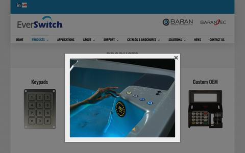 Screenshot of Products Page barantec.com - PRODUCTS - Piezo Switches - captured Oct. 5, 2018