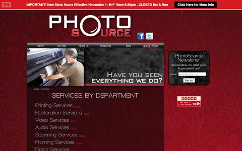 Screenshot of Services Page photosource.com - PhotoSource - Services - captured Nov. 2, 2014