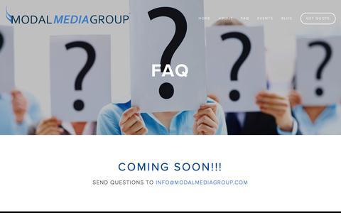 Screenshot of FAQ Page modalmediagroup.com - FAQ — Modal Media Group - captured April 22, 2016