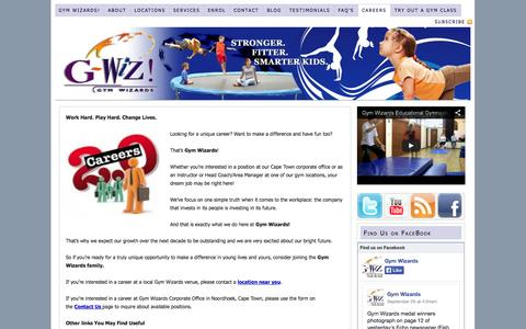 Screenshot of Jobs Page gymwizards.co.za - Careers| Gym Wizards|Jobs Working With Kids - captured Oct. 1, 2014