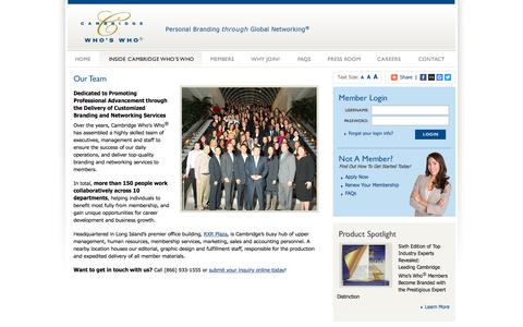 Screenshot of Team Page cambridgeregistry.com - Inside Cambridge Who's Who - Personal Branding Through Global Networking - captured March 3, 2016