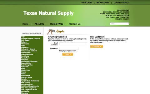 Screenshot of Login Page texasnaturalsupply.com - Login - captured Aug. 13, 2016