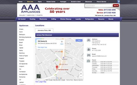 Screenshot of Contact Page Locations Page aaaappliancesales.com - Contact AAA Appliance in Massachusetts - captured May 7, 2017