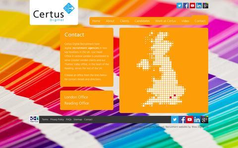 Screenshot of Contact Page certusdigital.co.uk - Contact » Certus Digital - captured Jan. 27, 2016