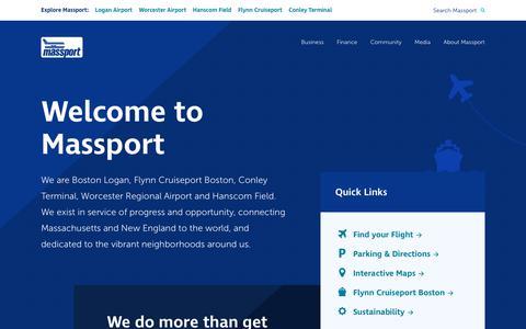 Screenshot of Home Page massport.com - Massachusetts Port Authority - captured July 10, 2019