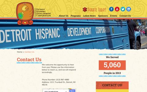 Screenshot of Contact Page dhdc1.org - Contact Us at the Detroit Hispanic Development Corporation - captured Oct. 5, 2014