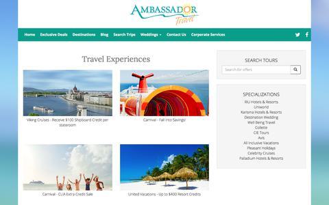 Screenshot of Products Page myambassadortravel.com - Travel Experiences - captured Oct. 8, 2017