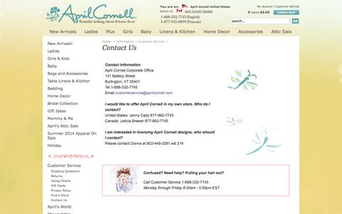 Screenshot of Contact Page aprilcornell.com - Contact Us | April Cornell: April Cornell Home, April Cornell Clothing - captured Sept. 30, 2014