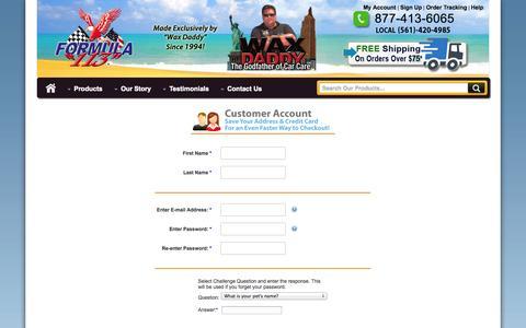 Screenshot of Signup Page formula113.com - Formula 113 - New Customer Sign-Up - captured Sept. 30, 2014