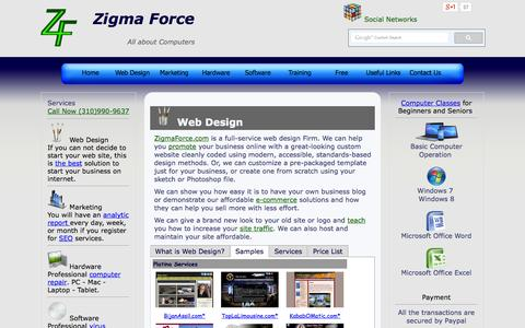 Screenshot of Services Page zigmaforce.com - Zigma Force All about computers Web Design, SEO, Hardware, Software, Training > Web Design - captured Oct. 9, 2014