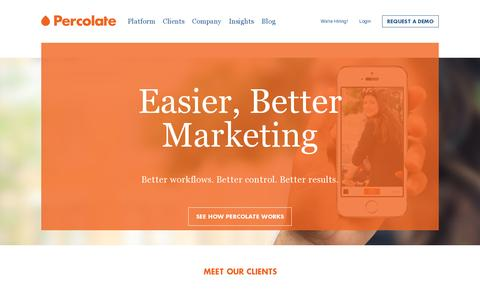 Screenshot of Home Page percolate.com - Percolate | Complete Content Marketing Software - captured July 17, 2014