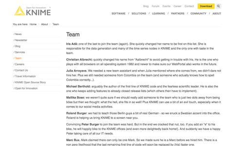 Screenshot of Team Page knime.com - Team | KNIME - captured July 19, 2018