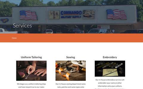 Screenshot of Services Page commandosupply.com - Services – Commando Military Supply - captured Aug. 18, 2017
