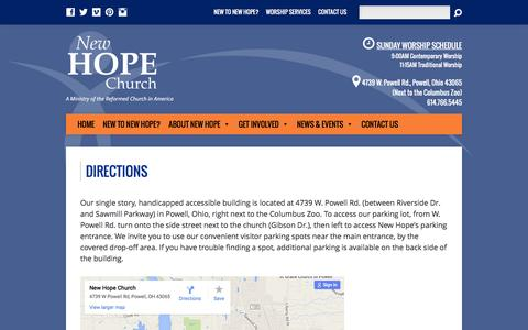 Screenshot of Maps & Directions Page newhopeworship.org - Directions - New Hope Church, Powell, Ohio - captured Feb. 14, 2016