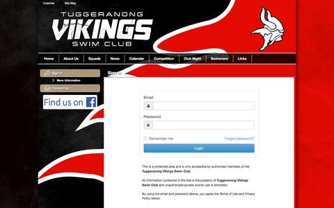 Screenshot of Login Page teamunify.com - Tuggeranong Vikings Swim Club : Sign In - captured April 11, 2017