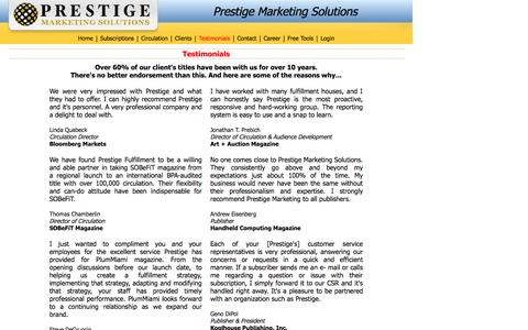 Screenshot of Testimonials Page prestigehq.com - Prestige Marketing Solutions - Testimonials - captured Oct. 3, 2014