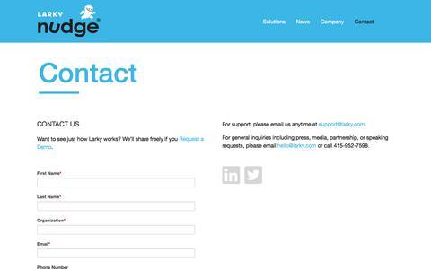 Screenshot of Contact Page larky.com - Contact - Nudge - captured Aug. 14, 2019