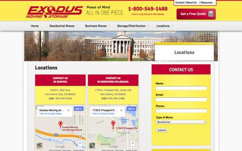 Screenshot of Locations Page exodusmoving.com - Denver, Fort Collins & Northern Colorado Movers | Exodus Moving & Storage - captured Oct. 3, 2014