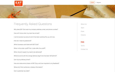 Screenshot of FAQ Page myeatclub.com - FAQ | EAT Club - captured Nov. 2, 2014