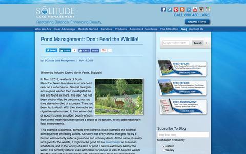 Screenshot of Blog solitudelakemanagement.com - Lake And Pond Management Knowledge, Perspectives And SOLutions - captured Nov. 20, 2016