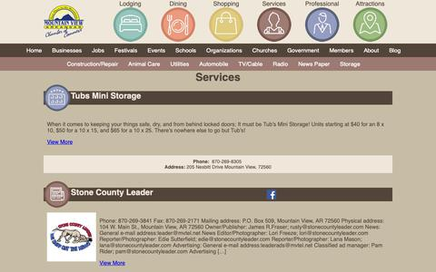Screenshot of Services Page yourplaceinthemountains.com - Services | Mountain View Area Chamber of Commerce - captured Oct. 18, 2018