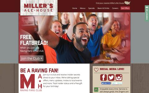 Screenshot of Signup Page millersalehouse.com - Join the Miller's Ale House Raving Fans Club | Special Offers & Coupons - captured Sept. 2, 2016