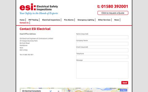 Screenshot of Contact Page esielectrical.co.uk - Contact ESI Electrical - Kent Electrical Safety Specialists - captured Jan. 24, 2016