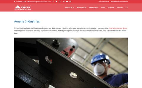 Screenshot of Home Page amanaindustries.com - Amana Industries - Part of the Amana Contracting Group - captured Jan. 27, 2017