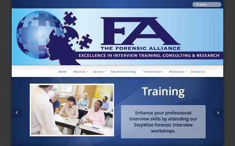 Screenshot of Home Page theforensicalliance.com - Forensic Alliance - captured Sept. 30, 2014