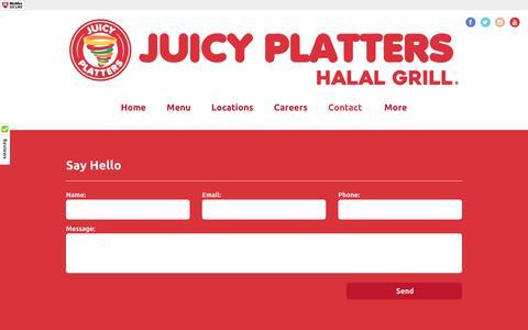 Screenshot of Contact Page juicyplatters.com - Juicy Platters Halal Grill - captured June 8, 2017