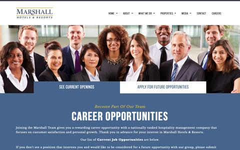 Screenshot of Jobs Page marshallhotels.com - Career Opportunities | Job Openings Hotel Management Industry - captured Oct. 17, 2018