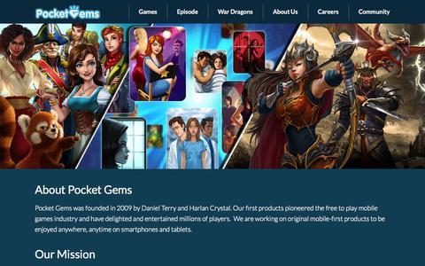 Screenshot of About Page pocketgems.com - Company «  Pocket Gems - captured Oct. 21, 2015