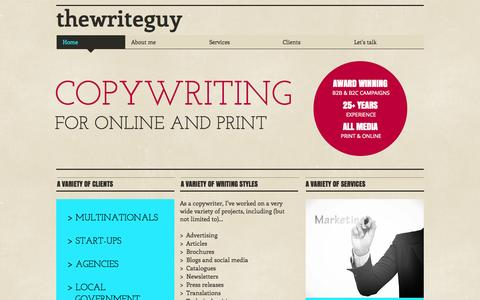 Screenshot of Home Page thewriteguy.co.uk - twrgpr3 - captured Oct. 9, 2014