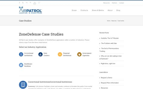 Screenshot of Case Studies Page airpatrolcorp.com - AirPatrol Case Studies | AirPatrol Corporation - captured July 20, 2014
