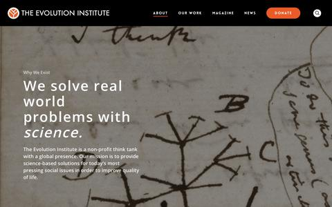 Screenshot of About Page evolution-institute.org - What We Do – The Evolution Institute - captured Oct. 20, 2018