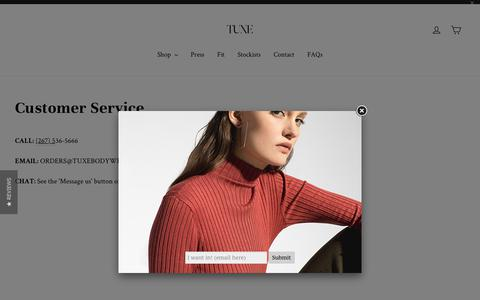 Screenshot of Contact Page tuxebodywear.com - Customer Service – TUXE - captured Oct. 22, 2018