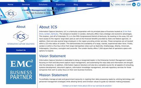 Screenshot of About Page infocapsol.com - About ICS | Enterprise Content Management | London, Kentucky - captured Nov. 26, 2016