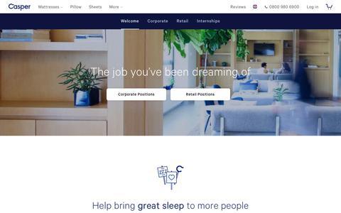 Screenshot of Jobs Page casper.com - Job you've been dreaming of | Casper® - captured Nov. 18, 2018