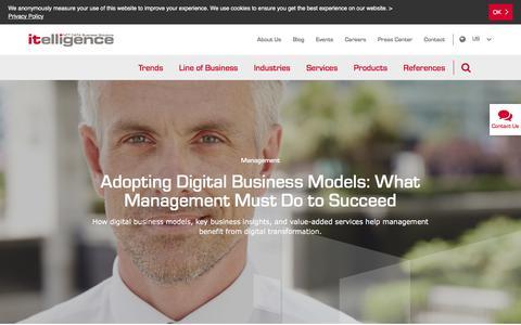 Screenshot of Team Page itelligencegroup.com - Adopting Digital Business Models   itelligence North America - captured Sept. 20, 2018