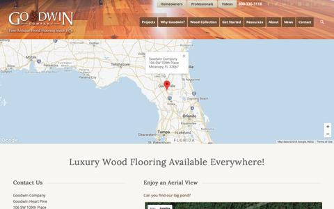 Screenshot of Contact Page Maps & Directions Page heartpine.com - Contact Goodwin, Wood Flooring - captured Sept. 29, 2018